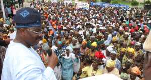 Governor of Oyo State, Senator Abiola Ajimobi, addressing a mammoth crowd of coalition of traders, artisans, religious bodies, professional groups, market men and women who thronged his office to celebrate with him upon his victory at the Governorship Election Petition Tribunal... on Wednesday.