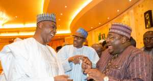 President Buhari, Saraki and another lawmaker