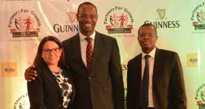 L-R Human Resource Director, Monica Peach, Supply Chain Director, Cephas Afebuameh and Corporate Relations Director, Sesan Sobowale, all of Guinness Nigeria at the Guinness Nigeria's Distributors Conference, tagged 'Partners for Growth' which held at Classique Events Centre, Lagos