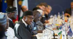 President Muhammadu Buhari in a meeting with French investors in paris
