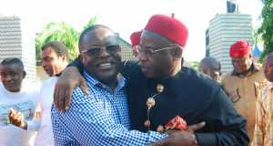 L-R: Governor David Umahi of Ebonyi State and former Governor of Imo State, Ikedi Ohakim, during a condolence visit by Ohakim to Umahi on the death of his mother in Uburu, Ohaozara LGA on Saturday.