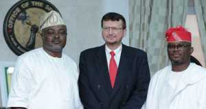 L-R: Speaker, Lagos State House of Assembly, Rt. Hon. Mudashiru Obasa; Deputy High Commissioner, of Canada in Nigeria, Mr Lajos Arendas; and Majority Leader, Lagos State House of Assembly, Hon Sanai Agunbiade when the Deputy High Commissioner visited the Speaker in his office on Tuesday.