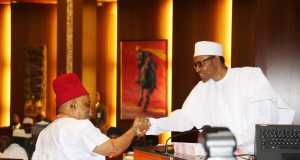 Dr. Chris Ngige, Minister of Labour and Employment while being sworn in by President Buhari