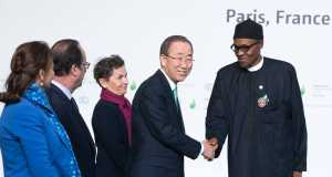 President Buhari with UN Sec. Gen, Ban Ki moon in Paris
