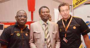 L-R: Managing Director, Shell Nigeria Exploration and Production Company Ltd (SNEPCo), Mr. Bayo Ojulari; Manager, Monitoring, Nigerian Content Development and Monitoring Board (NCDMB), Mr. William Arikekpar; and SNEPCo's Finance Director, Ralph Wetzels, at the 2015 SNEPCo Nigerian Content Exhibition in Lagos, on Thursday.