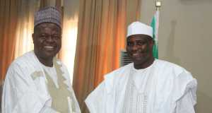 Sokoto State Governor, Aminu Waziri Tambuwal, with the Chairman of Erisco Foods Ltd., Chief Eric Umeofia at the signing of agreement for the take off of the $250m foods processing factory in Sokoto.