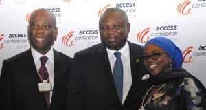 Lagos State Governor, Mr. Akinwunmi Ambode (middle), flanked by Chief Executive Officer/ Group Managing Director, Access Bank, Mr. Herbert Wiwge (left) and Chairperson, Access Bank, Nigeria, Mosun Bello-Olusoga (right), during the Access Leadership Conference 2015 with the theme - Leading a Transformational World: The Imperative of Innovation, at the Eko Hotels &Suites, Victoria Island, Lagos, on Thursday,