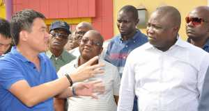 Lagos State Governor, Mr. Akinwunmi Ambode, Commissioner for Works & Infrastructure, Engr. Ganiyu Johnson and Project Manager, CCECC, Mr. Ronald LiBing, during the Governor's inspection of Ago Palace Way, Okota, on Thursday