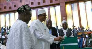 Buhari laying the budget before the joint session of the National Assembly