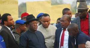 Ebonyi State Governor, David Umahi (in bowler hat); Deputy Governor, Kelechi Igwe; and Commissioner for Water Resources, Engr. Francis Orji, during the flagging off of the N1.2bn Ivo Water Project in Ishiagu, Ivo LGA, Ebonyi State