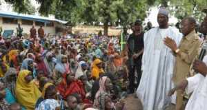 Lai Mohammed and Gov Shettima at the IDP camp