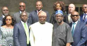 L-R: Lagos State Governor, Mr. Akinwunmi Ambode (middle), Executive Director, Falcon Corporation, Mrs. Audrey Joe-Ezigbo; Commissioner for Energy & Mineral Resources, Mr. Olawale Oluwo; Commissioner for Information & Strategy, Mr. Steve Ayorinde; Chairman, Eko Electricity, Mr. Charles Momoh and others, during the inauguration of the Lagos State Power Committee, at the Conference Hall, Lagos House, Ikeja, on Thursday, December 10, 2015.