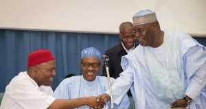 Onu, Buhari and Atiku at the launch of Dr. Onu's book