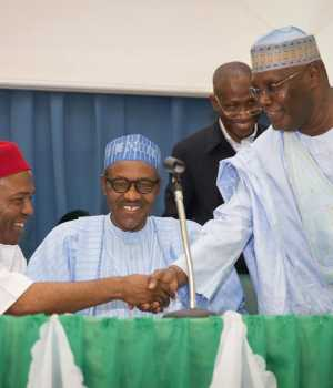 Onu, Buhari and Atiku at the launch of Dr. Onu's book