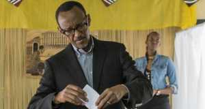 Rwanda President, Paul Kagame casting his vote during the referendum