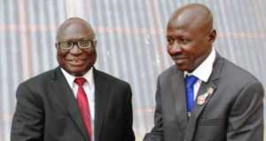 Ag. Chairman of EFCC Ibrahim Mustafa Magu (r) and the Chief Judge of Oyo State Justice Munta Ladipo Abimbola