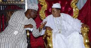 Gov. Abiola Ajimobi of Oyo and the Alaafin of Oyo, Oba Lamidi Adeyemi