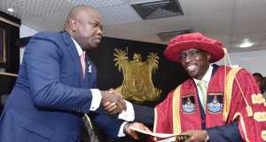 Lagos State Governor, Mr. Akinwunmi Ambode (left), congratulating the newly appointed Vice-Chancellor of Lagos State University, LASU, Prof. Olarenwaju Fagbohun (right), after taking his Oath of Office, at the Conference room, Lagos House, Ikeja, on Monday