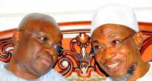 Ekiti Gov. Ayodele Fayose and Gov. Rauf Aregbesola of Osun during Fayose's visit to Osun on Tuesday