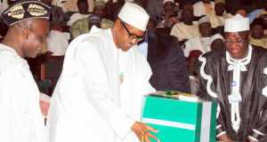 Buhari and Senator Enang, during the presentation of the 2016 budget in December