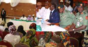Kidnapped Chibok school girls parents in a meeting with President Buhari in Aso Rock