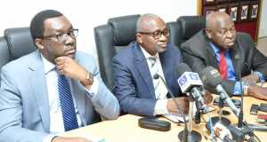 Lagos State Commissioner for Health, Dr. Jide Idris (middle), addressing newsmen on the LASSA fever outbreak in the State, during a media briefing, at the Conference room of the Ministry of Health, the Secretariat, Alausa, Ikeja, on Wednesday, January 27, 2016. With him are Commissioner for Information & Strategy, Mr. Steve Ayorinde (left) and Special Adviser to the Governor on Primary Healthcare, Dr. Olufemi Onanuga