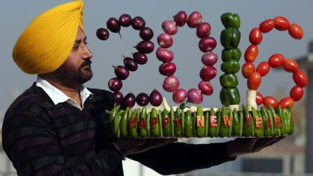 A special New Year artwork in Amritsar, India