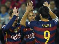 Messi, Neymar and Suarez celebrating the routing of Bilbao