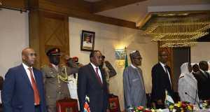 President Buhari at the Nigeria-Kenya Business Forum in Nairobi