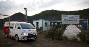 An ambulance leaves the Lily mine, which is owned by Vantage Goldfields, near Barberton, east of Johannesburg, February 5, 2016.