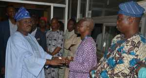Oyo State Governor, Senator Abiola Ajimobi, addressing management staff of the Broadcasting Corporation of Oyo State (BCOS) during an unscheduled visit to the Ile Akede, Orita Basorun, Ibadan, headquarters of the station, on Friday. Photo: Oyo State Government