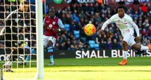 Daniel Sturidge firing past Villa keeper