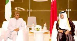 President Muhammadu Buhari received by Qatar Minister of Energy and Industry, Dr Mohammed Bin Saleh Al-Sada at the Emiri Diwan Wing of Hamad International Airport, Doha