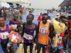 Abraham Kiptom with other runners after he won the Access Bank Lagos City Marathon
