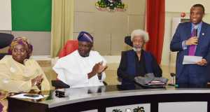 L-R: Lagos State Governor, Mr. Akinwunmi Ambode (2nd left); Deputy Governor, Dr. (Mrs.) Oluranti Adebule; Chairman, Committee for Lagos @ 50, Prof. Wole Soyinka and Secretary to the State Government, Mr. Tunji Bello, during the inauguration of Committee for Lagos @ 50, at the Banquet Hall, Lagos House, Ikeja, on Wednesday,