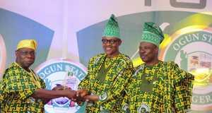 Obasanjo, Buhari and Amosun at the celebration of Ogun 40yrs of creation