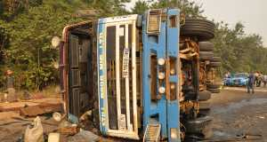 The scene of the accident on the Lagos-Ibadan expressway