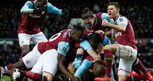 West Ham celebrate victory over Liverpool