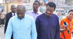 Managing Director Of Lekki Gardens, Richard Nyong (right) and the Contractor, Taiwo Odofin (left) being arraigned at the Ebute Metta Chief Magistrate Court, Lagos, on Friday,