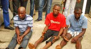 The apprehended kidnappers of three female students of Babington Macaulay Junior Seminary, Ikorodu being paraded by the Police, at the Lagos House, Ikeja, on Sunday,