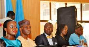 R-L: Dr Adeleke Ipaye, Senior Special Assistant to Osun State Governor, representing the Governor Rauf Aregbesola; Molara Wood, Head Corporate Communications, Resort International Ltd, representing Dr Wale Babalakin; Mr Segun Adeleye, President/CEO World Stage Ltd and founder Segun Adeleye Foundation for Good Leadership in Africa (SAFFGLIA); Mr Joe Bankole, Head of Lagos Operations, News Agency of Nigeria representing Minister of Information and Culture, Alhaji Lai Mohammed and Mrs Tosin Adeleye, Trustee of SAFFGLIA at the launch of the foundation and a book, So Long Too Long Nigeria by Segun Adeleye at the Afe Babalola Hall, University of Lagos on Thursday, March 10, 2016