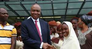 Saraki with female students of Model Secondary School, Maitama-Abuja