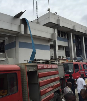 Fire fighters at the explosion scene in CBN office in Calabar