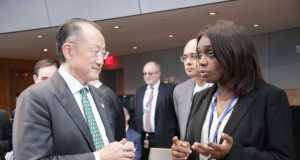 Adeosun explains a point to IMF President, Dr. Jim Yong Kim at the ongoing MIF:WB summit in Washington, USA