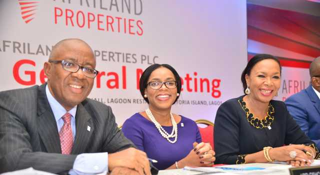 Director, Afriland Properties Plc, Mr. Emmanuel Nnorom; Managing Director/CEO, Mrs Uzo Oshogwe; and Chairman, Erelu Angela Adebayo at the 3rd Annual General Meeting of the company held in Lagos on Tuesday