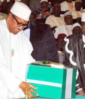 President Buhari laying the Budget before the National Assembly