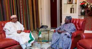 Buhari and Obasanjo in Aso Rock