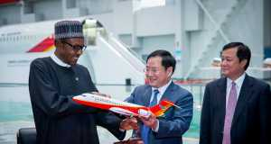 President Buhari at the Shanghai Free Trade Zone and Commercial Aircraft Cooperation of China Ltd in Shanghai China