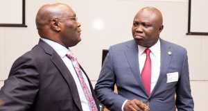 Former vice president Atiku Abubakar and Governor Akinwunmi Ambode during the London School of Economics lecture