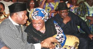 Jonathan condoling Alamieyeseigha's widow with Gov. Seriake Dickson
